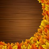 Wooden background with autumn leaves. Illustration of Wooden background with autumn leaves Stock Image