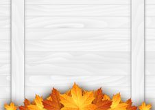 Wooden background with autumn leaves. Place for your text. Vector illustration Royalty Free Stock Photo