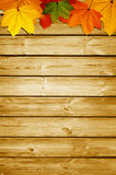 Wooden background with autumn Stock Photos