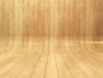 Wooden background. Bended wood wall made of curved planks Stock Images