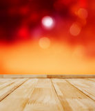 Wooden Background With Blur Lights Stock Photography