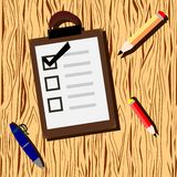 Wooden background with checklist and pencil royalty free illustration
