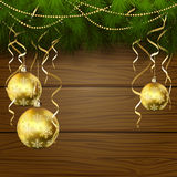 Wooden background with Christmas balls Royalty Free Stock Photos