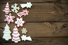 Wooden Background with Christmas Cookies and Copy Space Royalty Free Stock Images