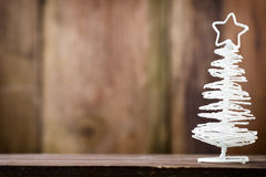 On wooden background Christmas decor. Royalty Free Stock Photos