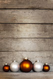Wooden background with christmas decorations Stock Images