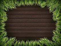 Wooden Background With Christmas Fir Tree. EPS 10 vector Royalty Free Stock Images