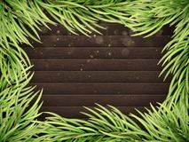 Wooden Background With Christmas Fir Tree. EPS 10 vector Royalty Free Stock Photos