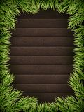 Wooden Background With Christmas Fir Tree. EPS 10 vector Stock Photography