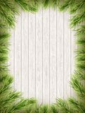 Wooden Background With Christmas Fir Tree. EPS 10 vector Stock Photo