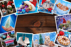 Wooden background with christmas images collection lying around Stock Photo