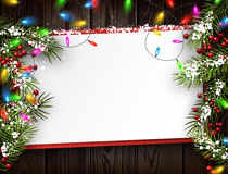 Wooden background with Christmas lights. Wooden background with color Christmas garland and fir branches. Vector illustration Stock Photo