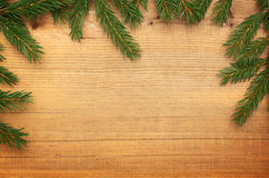 Wooden background with Christmas tree Royalty Free Stock Images