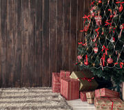 Wooden background and christmas tree Royalty Free Stock Photography
