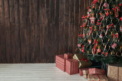 Wooden background and christmas tree Stock Photography