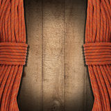 Wooden Background with Climbing Ropes Stock Photo