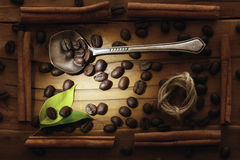 Wooden background coffee grains beans Stock Photography