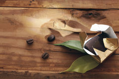 Wooden background coffee grains beans Royalty Free Stock Image