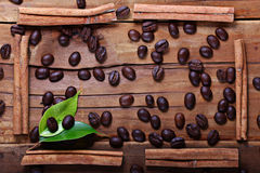 Wooden background coffee grains Royalty Free Stock Photo