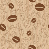 Wooden background with coffee pattern Royalty Free Stock Photo