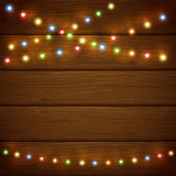 Wooden background with colorful Christmas lights. Christmas light on wooden background, holiday decorations with colorful lights, illustration vector illustration