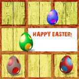 Wooden background with 3d Easter eggs Stock Photography