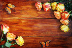 Wooden Background Decorated with Flowers Royalty Free Stock Photo