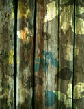 Wooden background with decorative leaves Stock Photos