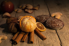 Wooden background with delicious decoration Royalty Free Stock Photo
