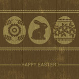 Wooden background with easter eggs, vector Stock Photo