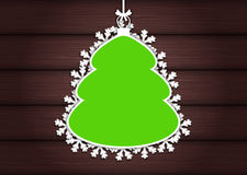 Wooden background with empty frame as Christmas tree Stock Image