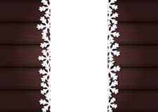 Wooden background with empty frame and snowflakes for Christmas Royalty Free Stock Photos