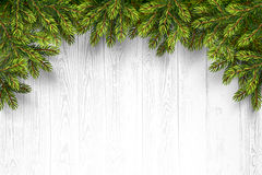 Wooden Background with Fir Branches Royalty Free Stock Photo