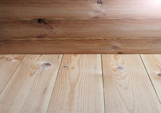 Wooden background - floor and wall.  Stock Photo