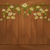 Wooden background with flowers Stock Photography