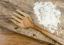 Wooden Background With Fork And Rice Stock Image