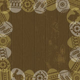 Wooden background with frame of easter eggs Stock Image