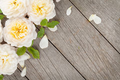 Wooden background with fresh rose flowers Royalty Free Stock Images