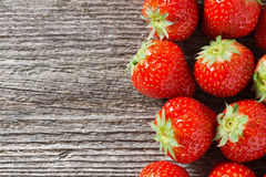 Wooden background with fresh strawberries, horizontal Stock Photos