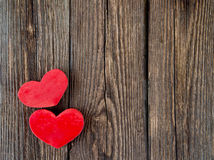 Wooden background with heart. Love theme, valentine. Desk Royalty Free Stock Photos