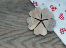 Wooden background with hearts Royalty Free Stock Images