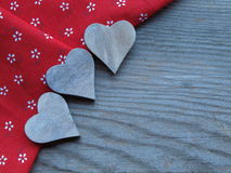 Wooden background with hearts Royalty Free Stock Photography