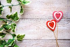 Wooden background with hearts. Wooden background with red hearts for Valentine`s day royalty free stock images