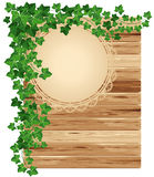 Wooden background with ivy Royalty Free Stock Photo