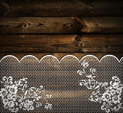 Wooden background with lace stock images
