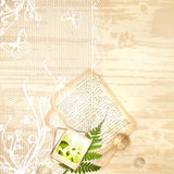 Wooden background with lace frame Stock Photography