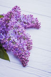 Wooden background with lilac flowers Stock Images