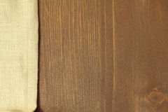 Wooden background with linen. Napkin Stock Photo