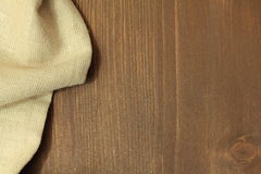 Wooden background with linen. Napkin Royalty Free Stock Photo