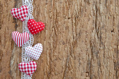 Wooden background with little hearts Royalty Free Stock Photography